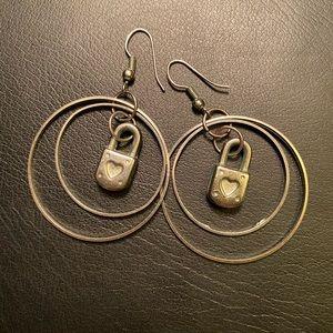 Dangle Double Hoop Locket Earrings in Silver